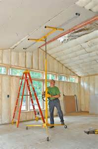 special drywall lifts make raising and supporting ceiling panels a much easier
