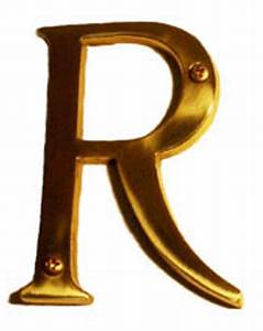4 inch tall letter r in polished brass With 4 inch brass letters