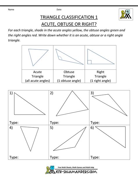 free 4th grade math worksheets triangle classification 1