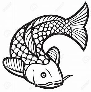 Drawn koi carp chinese fish - Pencil and in color drawn ...
