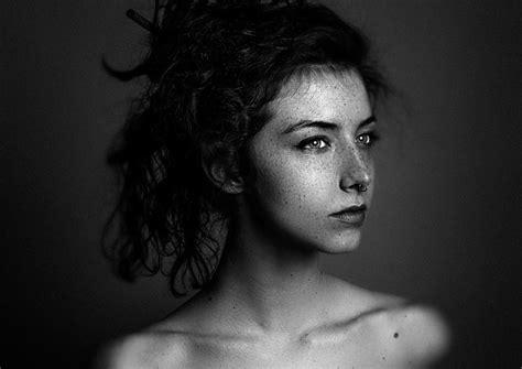 face model freckles women pierced septum monochrome