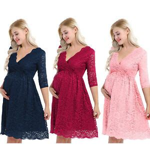 pregnant womens maternity dress floral lace  sleeve
