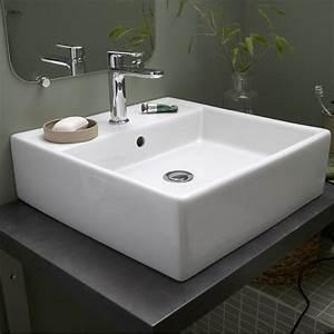 vasque a poser ceramique l46 x p46 cm blanc edge leroy With salle de bain design avec robinet vasque a poser
