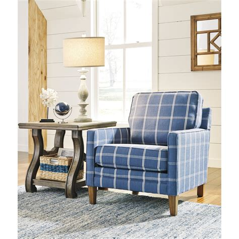 blue accent chairs for living room benchcraft adderbury 1440321 blue plaid accent chair with 1782