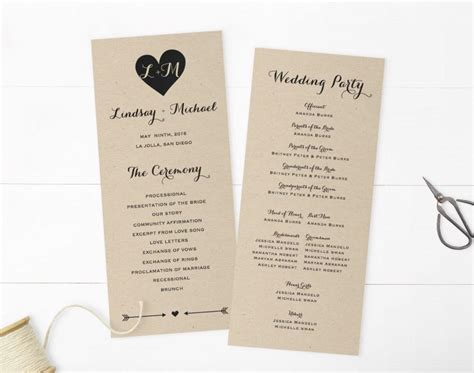 wedding programs template printable programs instant