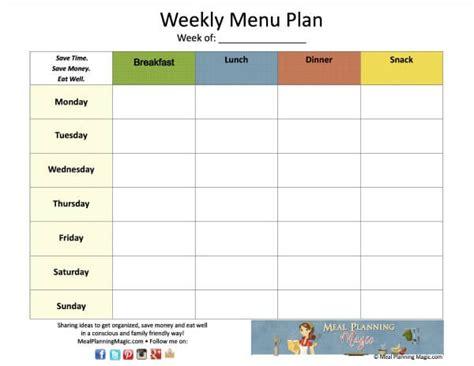 weekly menu plan grid printable