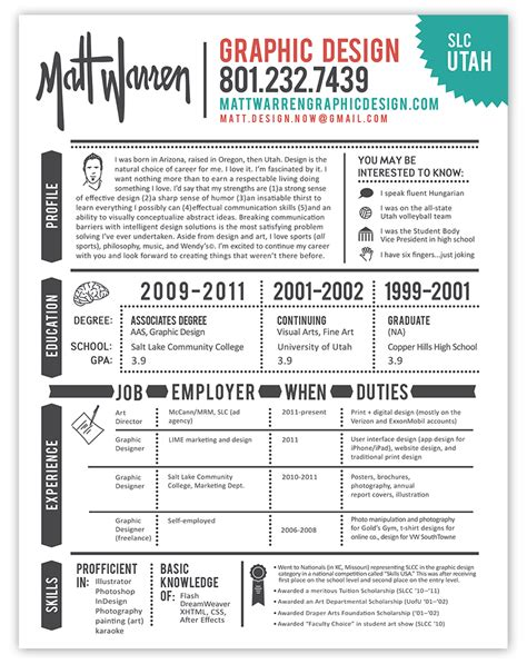 graphic design resume experience resumes