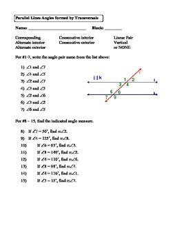 geometry unit 3 parallel lines angles formed by