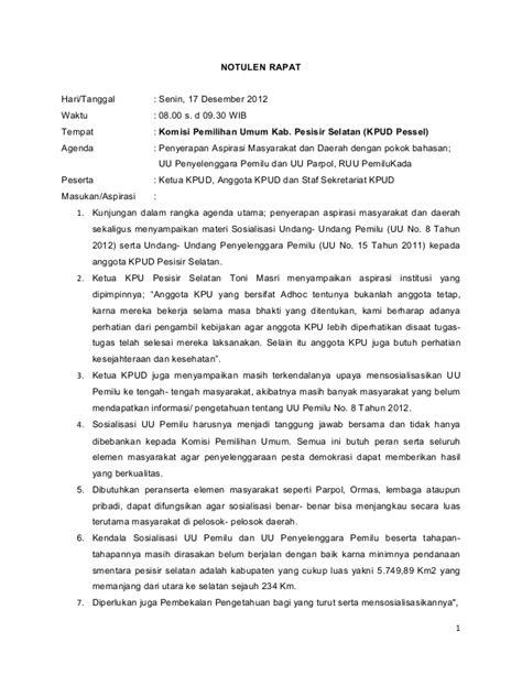 Notula Rapat Perusahaan by Notulen Kkd B 12 17 Des 2012 13 Jan 2013