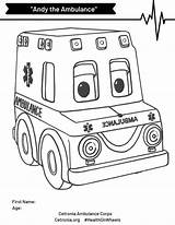 Ambulance Coloring Andy Contest Simple sketch template