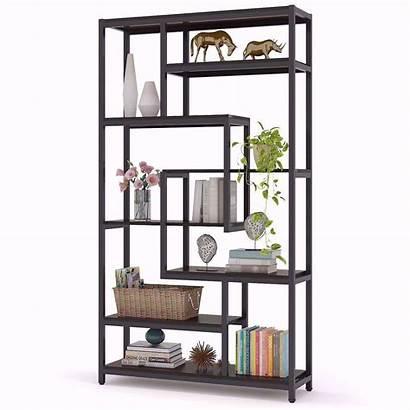 Bookcase Shelves Staggered Rustic Office Shelf Garden