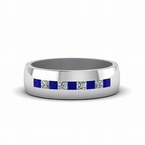 Channel set princess cut diamond band for men with blue for Mens wedding ring with blue diamonds