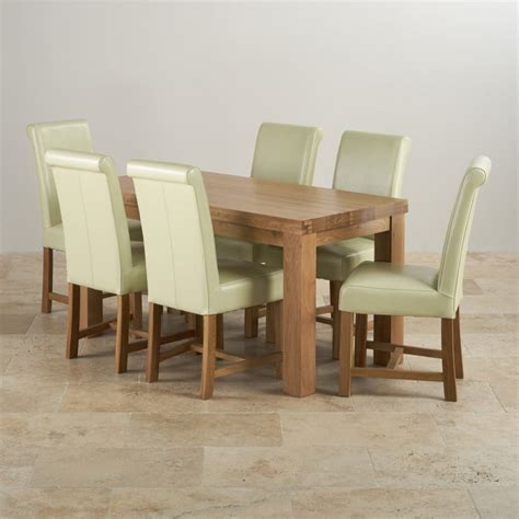 contemporary dining set in oak table 6 leather chairs