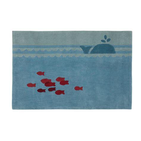 tapis enfant bleu 80 x 120 cm marin maisons du monde