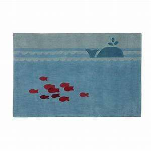 tapis enfant bleu 80 x 120 cm marin maisons du monde With tapis enfant bleu