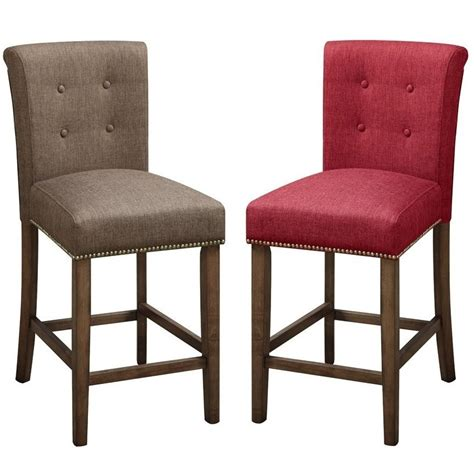 set of 2 fabric upholstered wood counter height stools