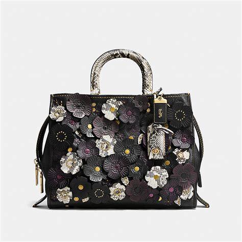 coach designer purses tea rose applique rogue bag  exotic leather