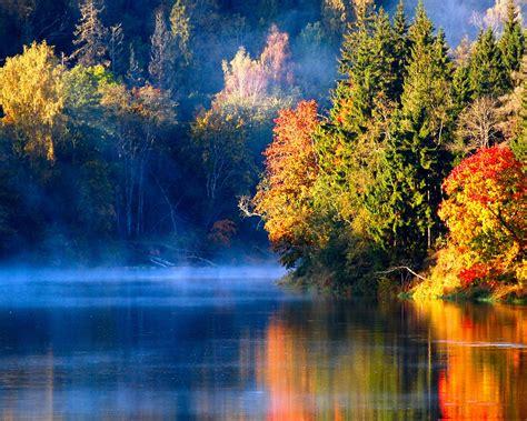 wallpaper latvian autumn forest river mist   morning