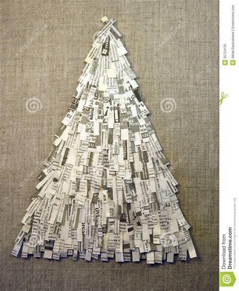 christmas tree made feom newspaper stock image image