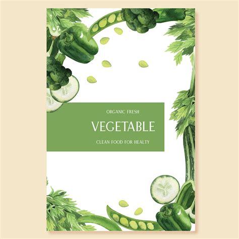 green vegetables watercolor poster organic menu idea farm