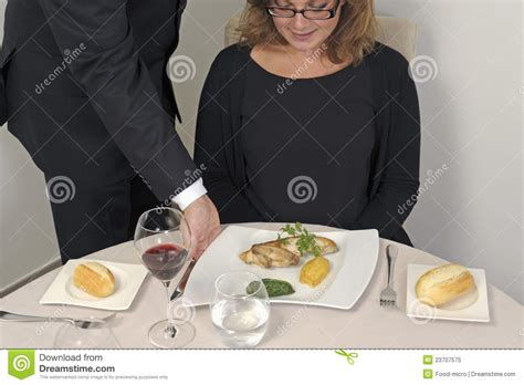waiter serving  plate  food editorial image image