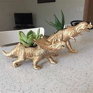 Large Sized Gold Dinosaur Planter With Air Plant Desk Dino Holder