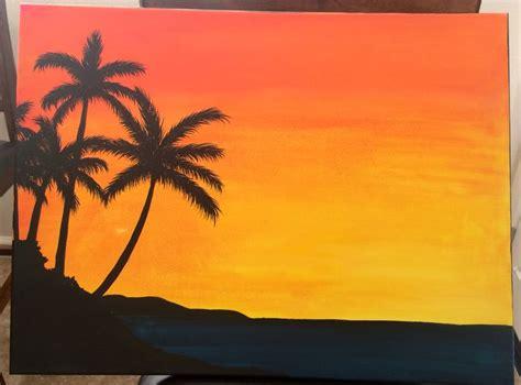 palm tree sunset painting beach crafts pinterest