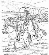 Coloring Wagon Covered Adult Cowboy Sheets Horse Colouring Cowboys Printable West Western Drawing Gypsy Caravan Line Pioneer Indians Sheet Template sketch template