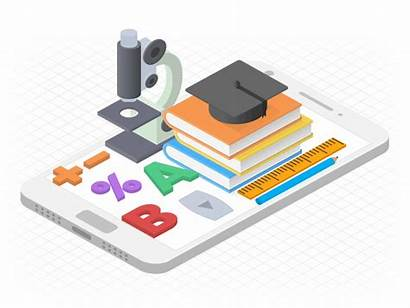 Educational App Development Illustration Solutions Education Isometric