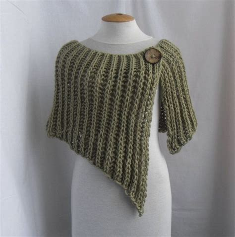 knitted wrap poncho shawl with one button trousers and