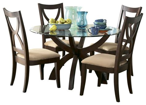 Homelegance Stardust Round Glass Pedestal Dining Table In