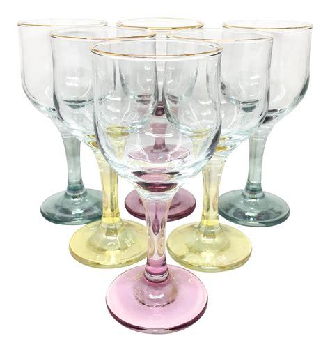 colored wine glasses colored stem wine glasses set of 6 chairish
