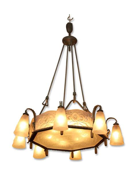 Light Chandeliers by Muller Freres Nouveau Eight Light Chandelier Olde