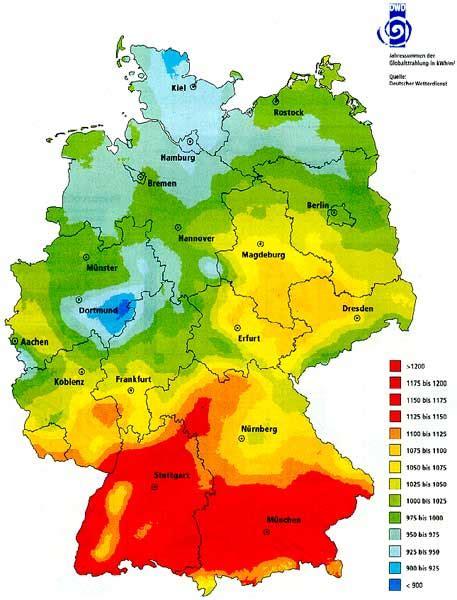 verteilung der globalstrahlung  deutschland