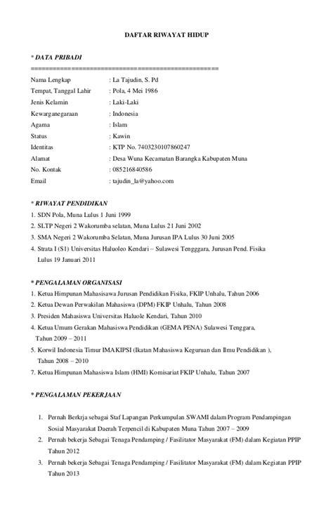 Surat Lamaran Cpns Kemensos 2017 by Contoh Daftar Riwayat Hidup Kerja Terbaru Oliv Asuss