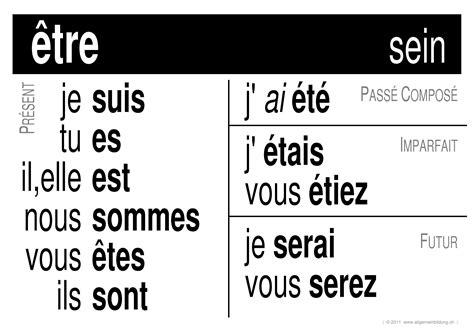 franzoesisch lernplakate wissensposter verbe etre
