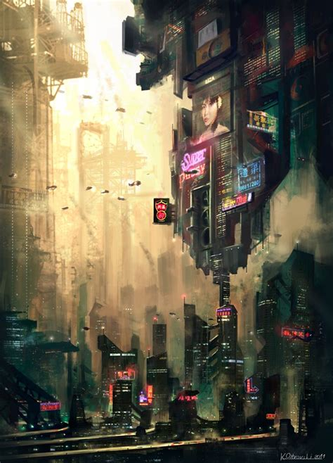 image   cyberpunk city   classically  industrial  dark  splashes  neon