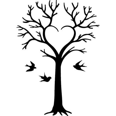 chambre fille design sticker arbre en coeur et oiseaux