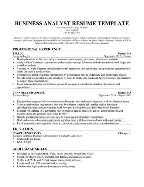 Resume Writing Business Software by This Business Analyst Resume Sle Was Designed And