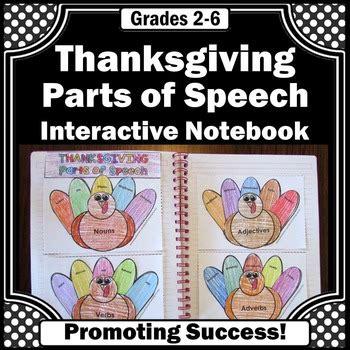 thanksgiving activities parts of speech interactive notebook turkeys