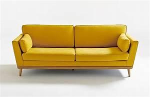 test et avis canape vintage tasie de la redoute interieurs With canapé cuir jaune moutarde