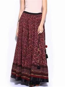 Label by Ritu Kumar Maroon u0026 Red Printed Maxi Skirt ...