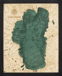 West Grand Traverse Bay Depth Chart Custom Wood Charts Of Lake Tahoe From Carved Lake Art