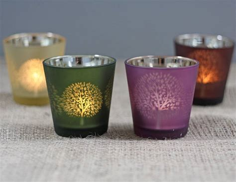 four mulberry tree tea light holders by the wedding of my