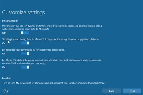 Windows 10 Upgrade Express Settings