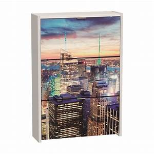 meuble a chaussures de 3 portes motif new york achat With meuble new york