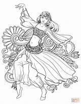 Coloring Dance Dancing Woman Pages Gypsy Arabic Belly Printable Mandalas Drawing Para Colorear Dibujos Books Supercoloring Line Pintar Colouring Adult sketch template