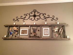Old ladder with chicken wire country home decor