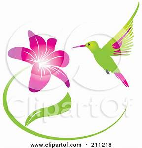 Hummingbirds And Flowers Clipart