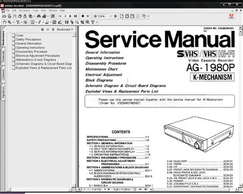Panasonic Video Cassette Recorder Service Manual